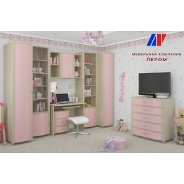 Детская Валерия 1 БД-Р цвет Дуб беленый с розовыми вставками (БД-Р)
