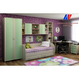 Детская Валерия 10 БД-З цвет Дуб беленый с зелеными вставками (БД-З)