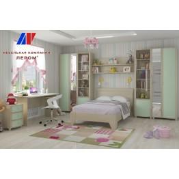 Детская валерия 12 БД-З цвет Дуб беленый с зелеными вставками (БД-З)