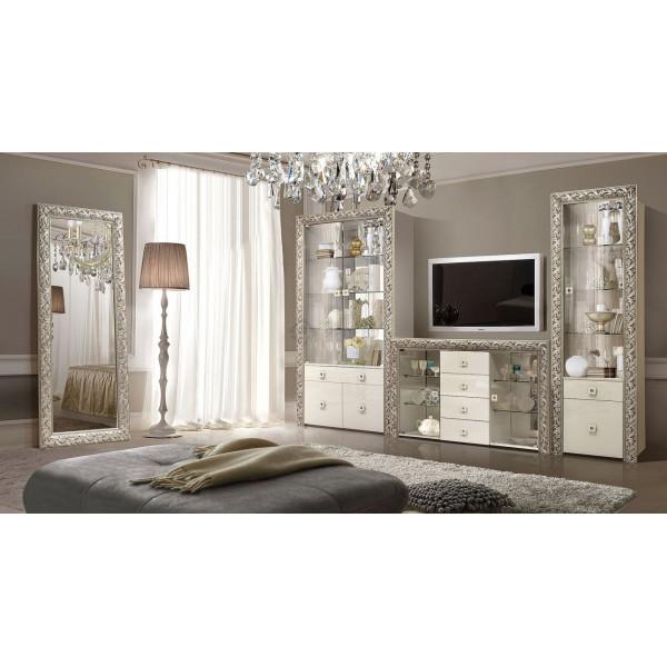 Модульная гостинная Тиффани Premium слоновая кость/серебро