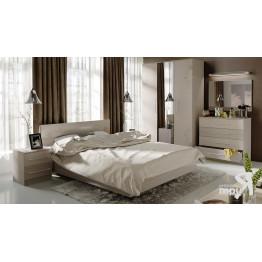 Спальня «Мишель» (Ясень шимо/Бежевый фон глянец с рисунком)