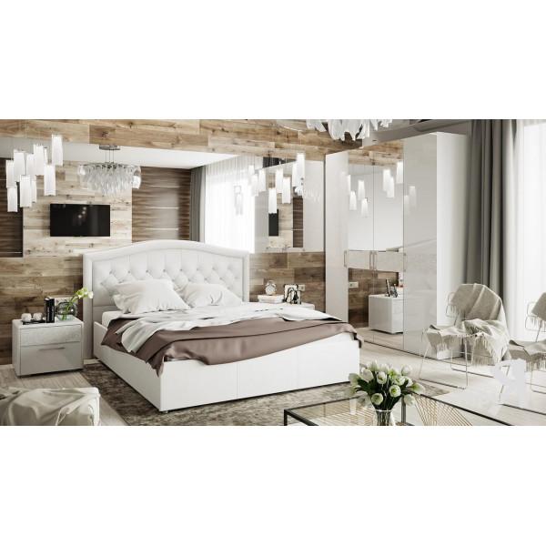 Спальный гарнитур «Амели» №12 (Белый глянец, Белая)