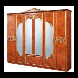 Шкаф 6-ти дверный Карина черешня золото