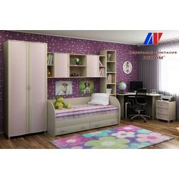 Детская Валерия 10 БД-Р цвет Дуб беленый с розовыми вставками (БД-Р)