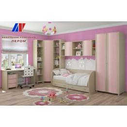 Детская Валерия 6 БД-Р цвет Дуб беленый с розовыми вставками (БД-Р)