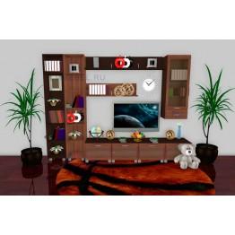 Гостиная Лером Мелисса ПР1 цвет корпус Дуб Венге, фасады Слива Валлис (ВЕ-СЛ)