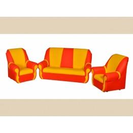 Диван, 2 кресла, 2 пуфика