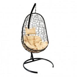 Подвесное кресло Z-02 (7), цвет черный, подушка – бежевый, каркас – черный