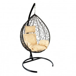 Подвесное кресло Z-03 (B) (7), цвет черный, подушка – бежевый, каркас – черный