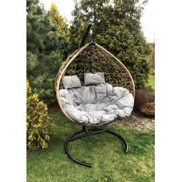 Подвесное кресло Z-06 (3), цвет светло-коричневый, подушка – серый, каркас – черный