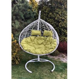 Подвесное кресло Z-06 (5), цвет белый, подушка – зеленый, каркас – белый