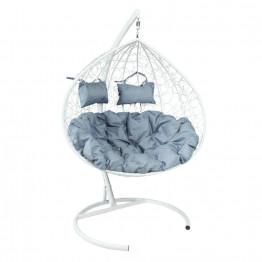 Подвесное кресло Z-06 (6), цвет белый, подушка – серый, каркас – белый