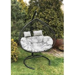 Подвесное кресло Z-06 (9), цвет черный, подушка – серый, каркас – черный