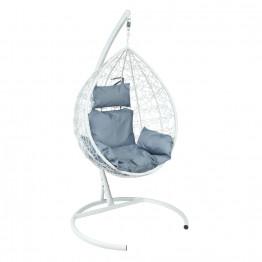 Подвесное кресло Z-11 (6), цвет белый, подушка – серый, каркас – белый