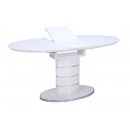 Стол обеденный раскладной LUNA (1200-1550х800х760) белый (со стеклом)