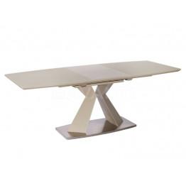 Стол обеденный раскладной FLEX (1600-2100x900x760) мокка (сатинированное стекло)